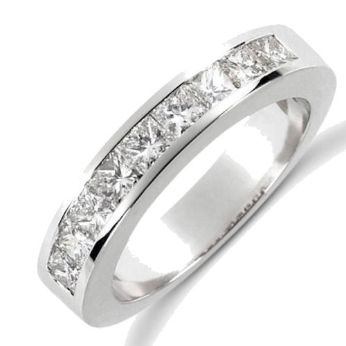 White Gold Princess Cut Channel Set Anniversary Ring