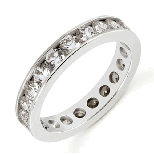 White Gold Round Cut Eternity Diamond Ring
