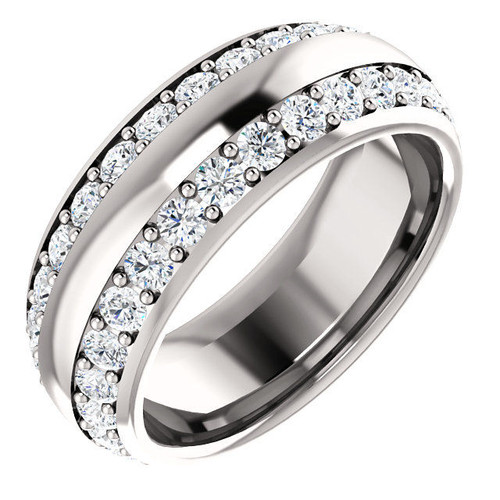 White Gold 2-Row Round Cut Eternity Ring