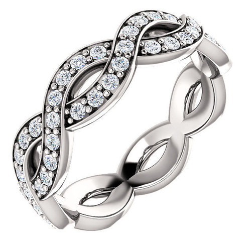 White Gold Twisted Round Cut Eternity Ring