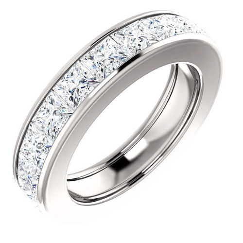 Platinum 4.6 ct tw Princess Cut Diamond Eternity Ring