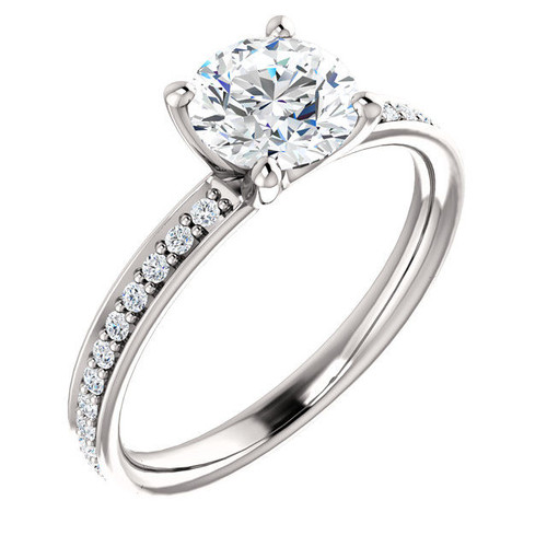 White Gold Classic Diamond Accent Engagement Ring
