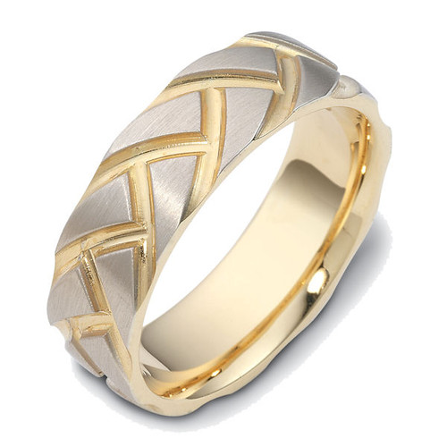 Two-Tone Carved Contemporary Wedding Band