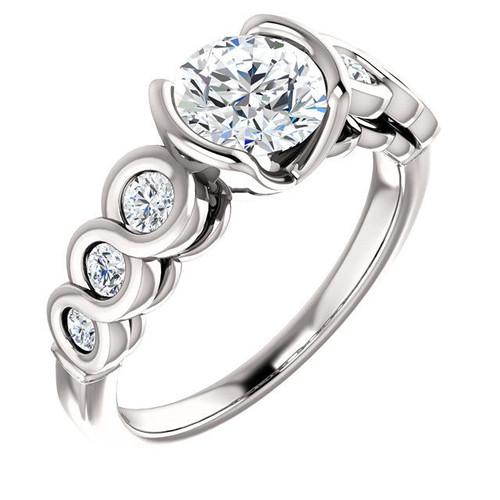 White Gold Round Bezel Engagement Ring