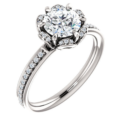 White Gold Round Flower Design Diamond Engagement Ring