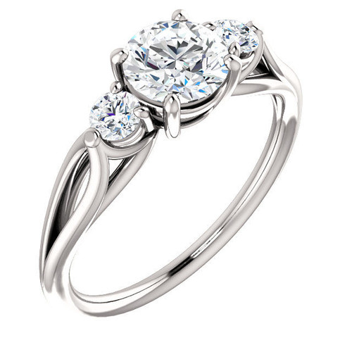 White Gold 3-Stone Engagement Ring
