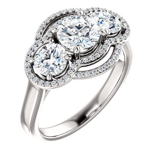 White Gold 3-Stone Halo Engagement Ring