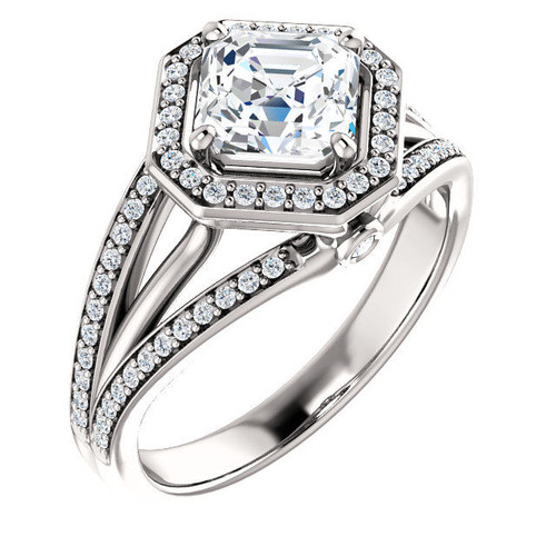 White Gold Asscher Cut Halo Engagement Ring