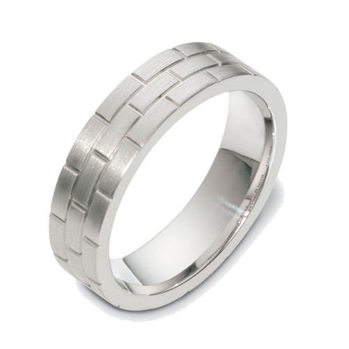 14Kt White Gold Brick Wedding Band
