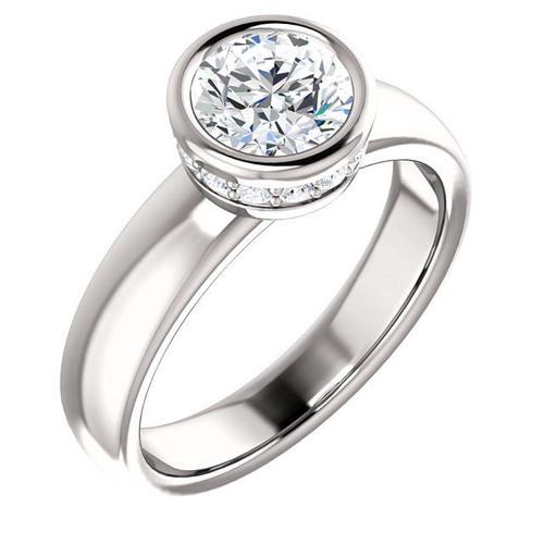 White Gold Round Bezel Diamond Engagement Ring