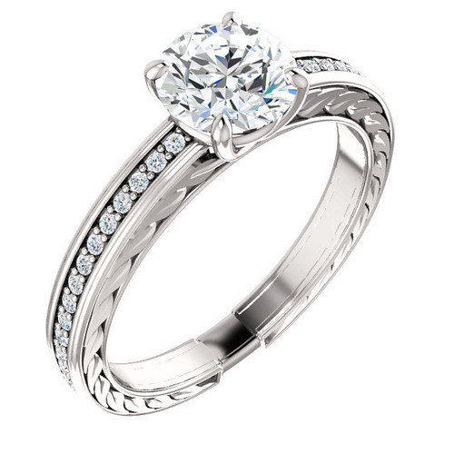 White Gold Carved Diamond Engagement Ring