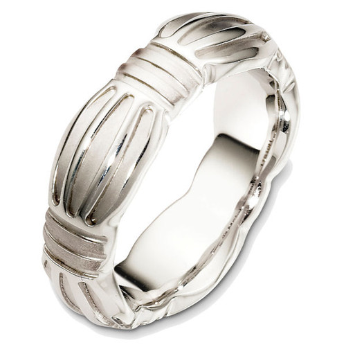 14Kt White Gold Contemporary Wedding Ring