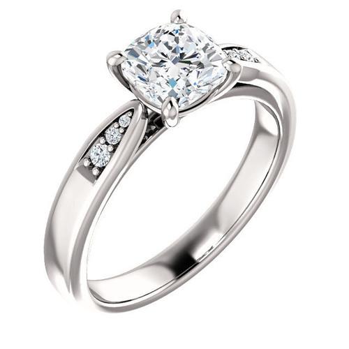 White Gold Cushion Diamond Engagement Ring