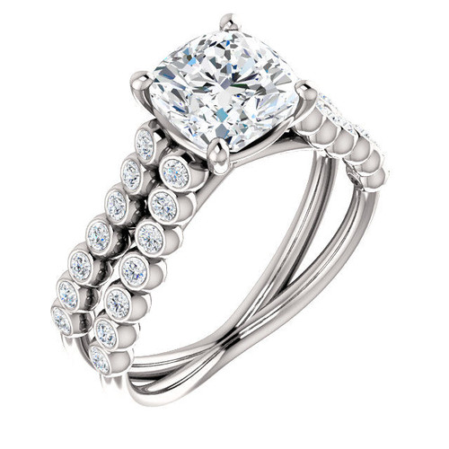 White Gold Cushion Cut Diamond Engagement Ring