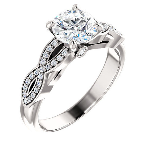 White Gold Round Twisted Engagement Ring