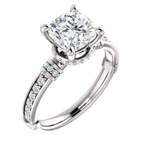 White Gold Diamond Accent Cushion Cut Engagement Ring
