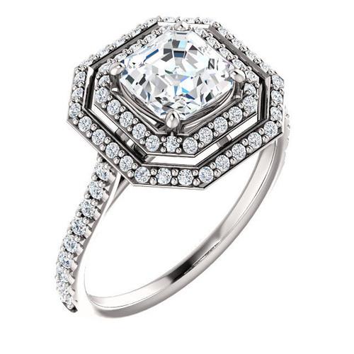Platinum Double Halo Asscher Diamond Engagement Ring