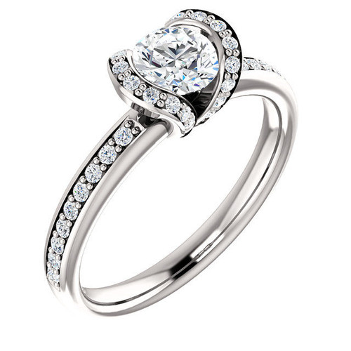 White Gold Half Halo Diamond Engagement Ring