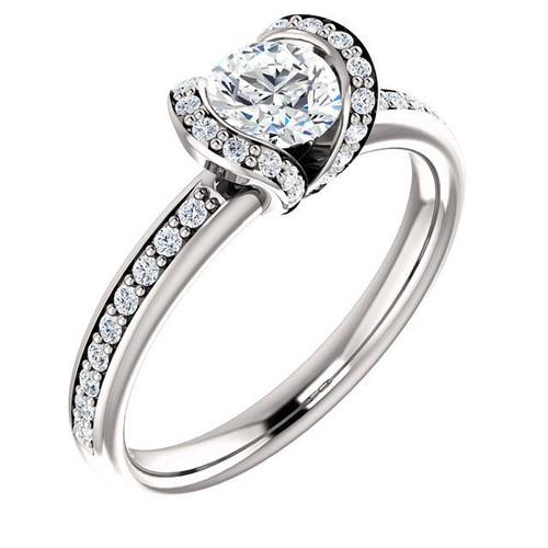 White Gold Half Halo Diamond Engagement Ring