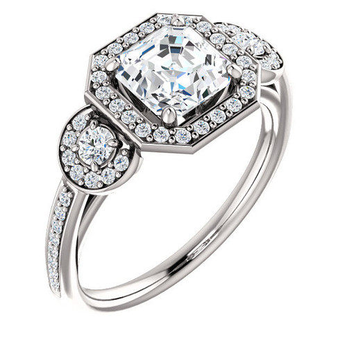 White Gold 3-Stone Halo Cut Engagement Ring