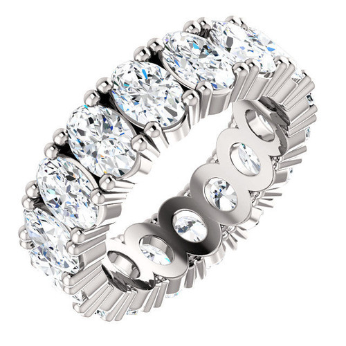 Platinum 8.0 ct tw Oval Diamond Eternity Ring