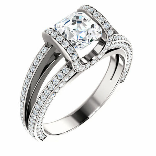 White Gold Asscher Half Halo Engagement Ring