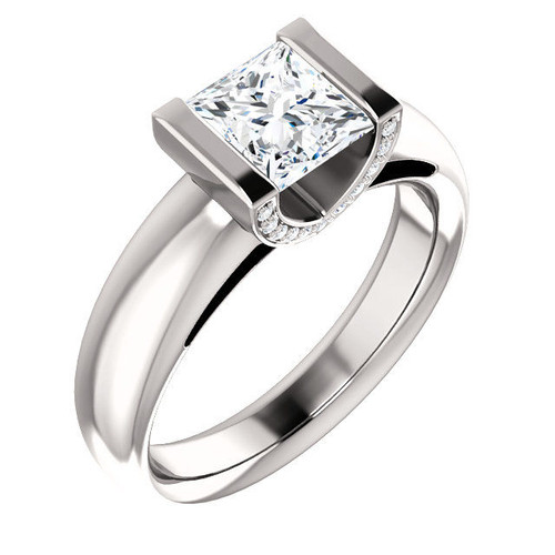 White Gold Diamond Princess Cut Engagement Ring