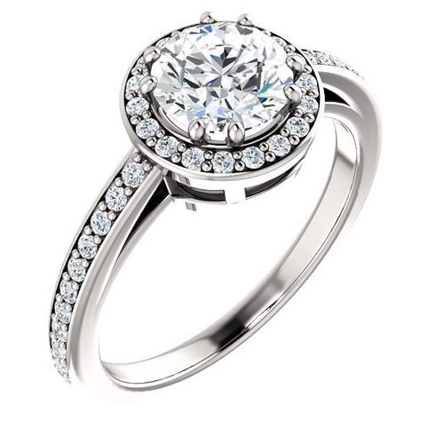 White Gold Round Halo Diamond Engagement Ring