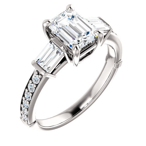 White Gold Emerald Cut Diamond Accent Engagement Ring