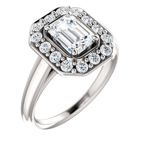 White Gold Emerald Halo Engagement Ring