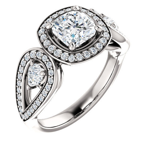 White Gold Halo Cushion Engagement Ring