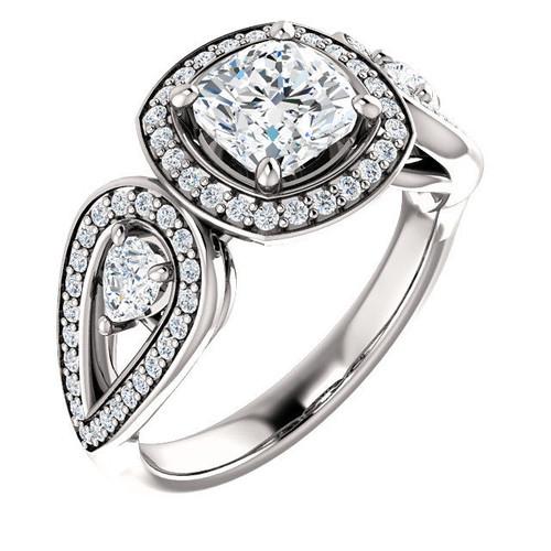 White Gold Halo Cushion Engagement Ring