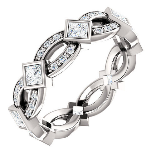 White Gold Princess Cut Twisted Eternity Ring