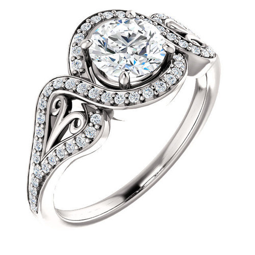 White Gold Round Diamond Accent Engagement Ring