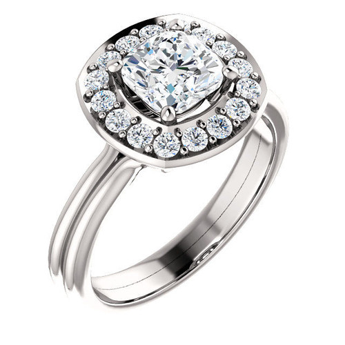 White Gold Halo Cushion Cut Engagement Ring