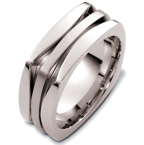 14Kt White Gold Square Wedding Ring