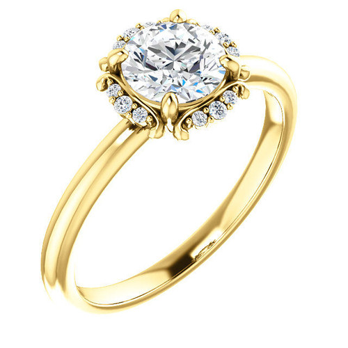 Yellow Gold Round Cut Diamond Accent Engagement Ring