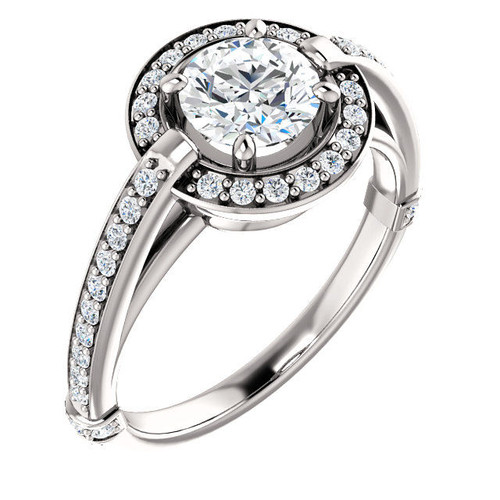 White Gold Halo Diamond Round Cut Engagement Ring