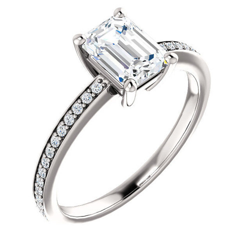 White Gold Classic Emerald Cut Engagement Ring