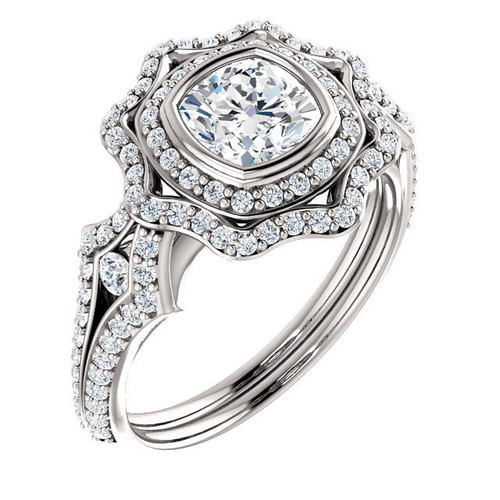 White Gold Cushion Cut Double Halo Engagement Ring