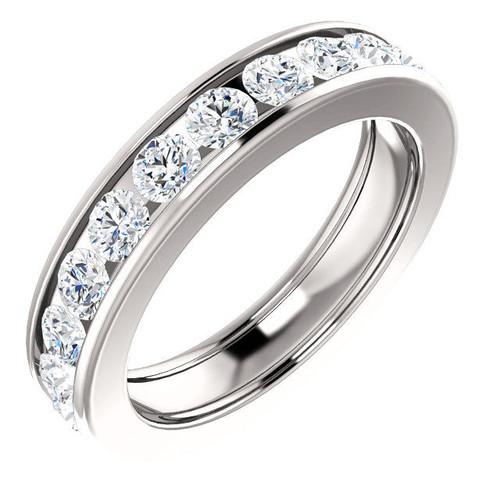 Platinum 2.2 CT TW Channel Set Diamond Eternity Ring