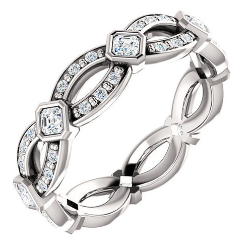 White Gold Diamond Asscher Eternity Ring