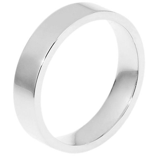 White Gold 5.0 mm Flat Comfort Fit Wedding Ring