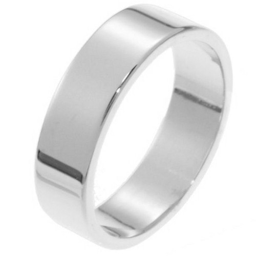White Gold 6.0 mm Flat Comfort Fit Wedding Band