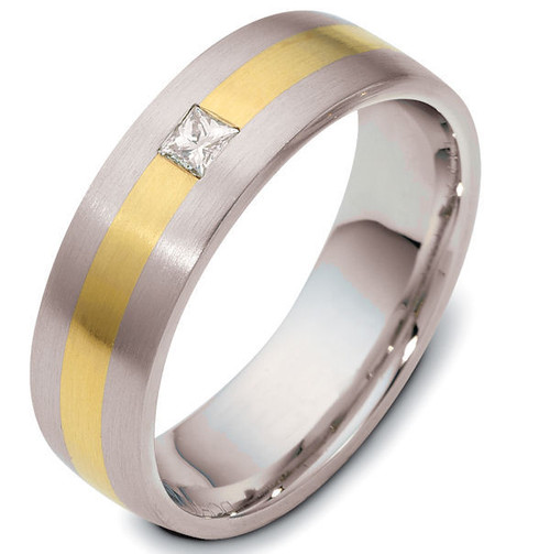14Kt Two-Tone Princess Cut Diamond Wedding Ring