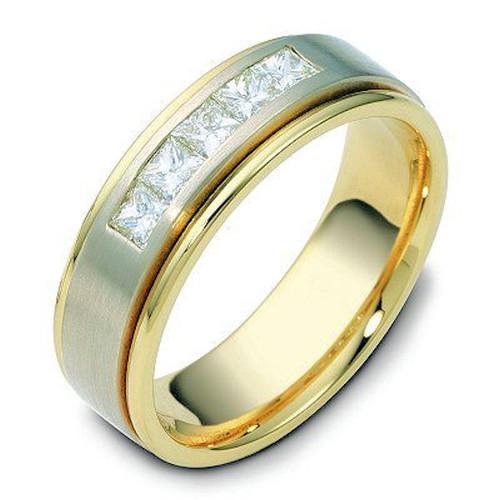 14Kt Two-Tone 5-Stone Princess Cut Diamond Wedding Ring