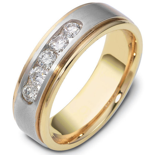 14Kt Two-Tone 5-Stone Round Diamond Wedding Ring