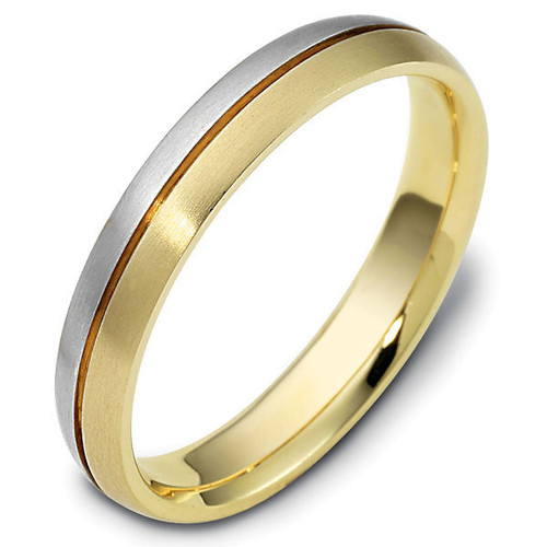 14Kt Two-Tone Gold Grooved Classic Wedding Ring