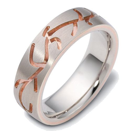 14Kt Rose & White Gold Carved Wedding Ring