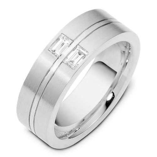 Platinum Diamond Baguette Wedding Ring